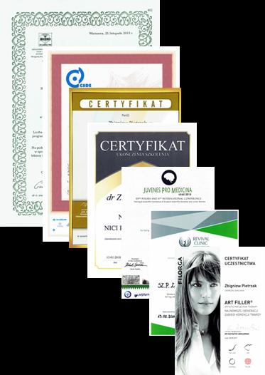 Dermcenter - Certyfikaty